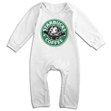 Kamici Inflant Starbucks Cute Cat Long Sleeve Climb Clothes Romper White