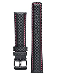 Signature Carbon Black with Red 22 mm extra long watch band. Replacement watch strap. Genuine leather. Black Buckle
