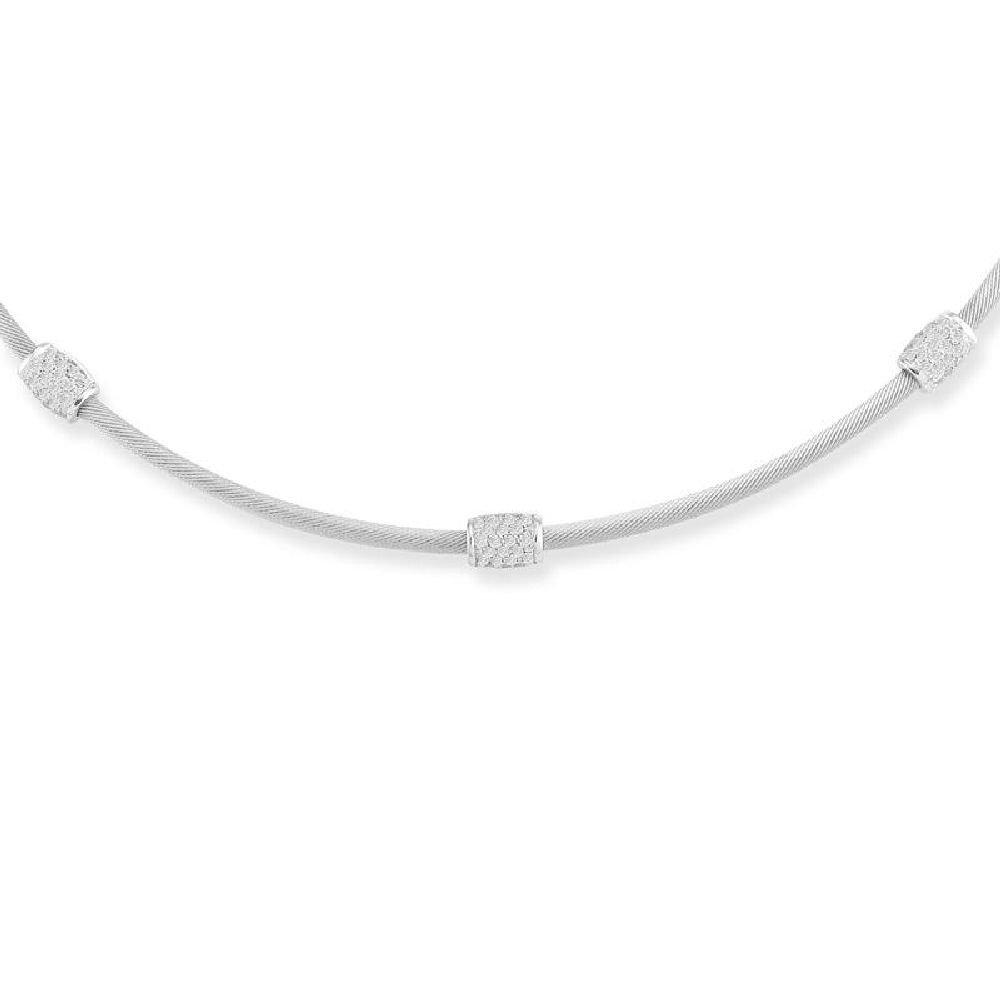 0.60ctw Diamonds Pave-Set 14K Gold 2.5mm Super-Flex Semi-Hollow Cable Wire 16 Necklace