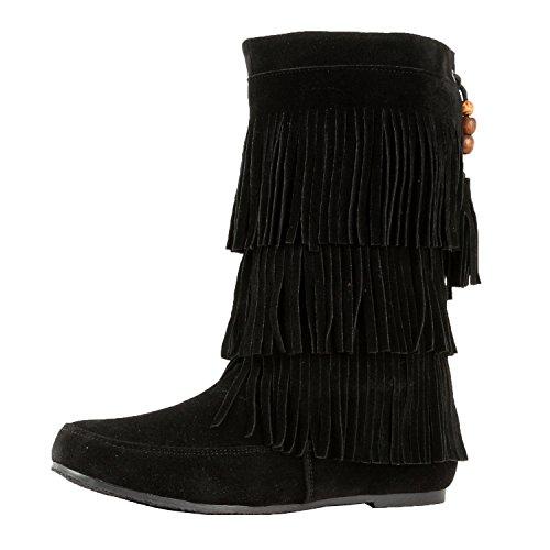 West Blvd Lima - Womens Western Fringe 3-Tier-Mokassin-Flach - Faux Suede Mid Calf Boots Schwarz Su