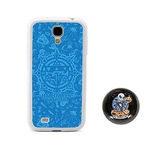 """BuddiCase Azul diseño en relieve monstruo de halloween estilo TPU + Plástico duro for Samsung Galaxy S4 SIV I9500 with pesadilla antes de Navidad estilo boton """"2,3 pulgadas insignia"""