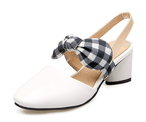 Aisun Womens Chunky Medium Heels Dress Closed Square Toe Slip On Slingback Sandals With Bows White P944zk4