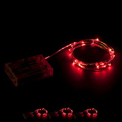 RTGS 20 Red Color Micro LED String Lights Battery Operated on 7.5 Feet Silver Wire