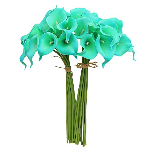 YILIYAJIA Calla Lily Bridal Wedding Party Decor Bouquet PVC Latex Real Touch Flower Artificial Flowers in Vase,Pack of 20 (BLUE) (Vase In Artificial Beautiful Flowers)