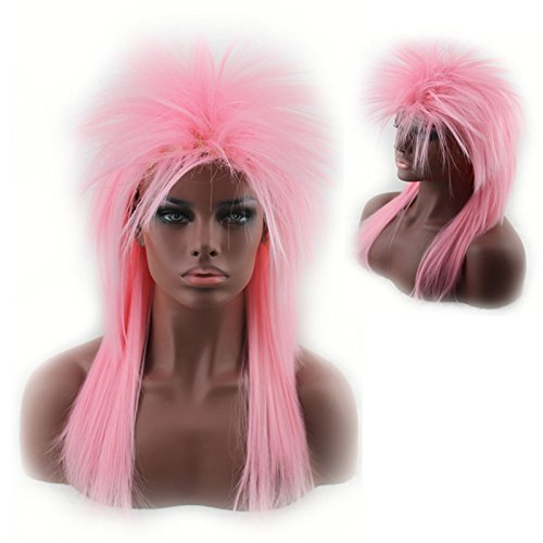 Women's 80's to the Maxx Spiky Rocker Wig Rock Star Pink Straight Spiked Wig Cosplay Wigs Party Hair for Black (Spiky Blonde Wig)
