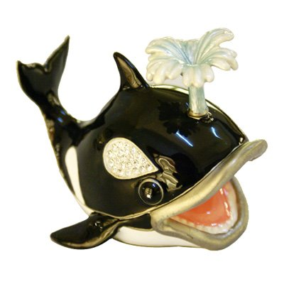 Lilly Rocket Collectible Trinket Box with Rhinestone Bejeweled Swarovski Crystals - Whale