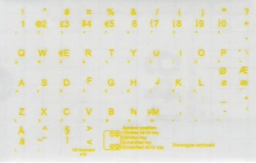 NORWEGIAN KEYBOARD STICKERS WITH YELLOW LETTERING TRANSPARENT BACKGROUND