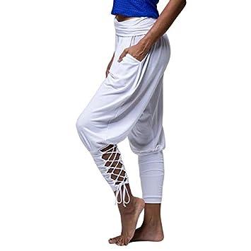 GSYJK Pantalones Sueltos De Yoga Blancos Pies Anchos Correas ...