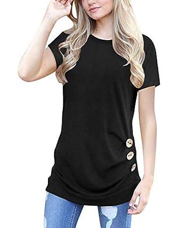 f5bebc6f90e Muhadrs Womens Long Short Sleeve Casual Round Neck Loose Tunic Top Blouse T- Shirt