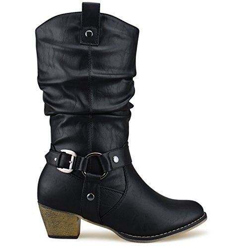 Women's Western Cowboy Pointed Toe Knee High Pull On Tabs Boots, TPS Wild-02 Black Size 10 ()