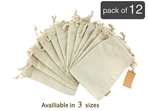 Eco bags, Reusable & Multipurpose Muslin Bags With Drawstring, Large 10x12 inches, Sachet Bags, Canvas Bags, Vegetable & Bread Bags, Holiday Gift Bag, Linen Bag, 12 count pack Leafico