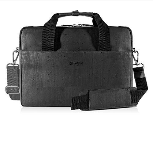Corkor Cork Briefcase for Men | Vegan Messenger Bag Non-Leather | Shoulder Strap Black Color