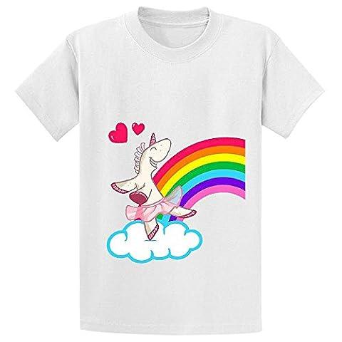 Snowl The Geekies Rainbow Unicorn Girls Crew Neck Customized T Shirts White (Wwf Cheetah)