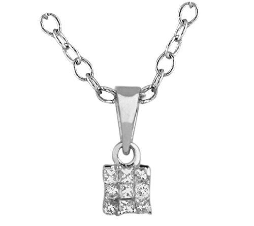 Libertini pendentif argent 925 femme serti de Diamant en forme de Rectangulaire