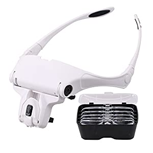 BMBZON Headband Magnifier LED Head Magnifing Glasses Bracket 5 Replaceable Lenses for Reading,Jewelry Loupe(1.0X, 1.5X, 2.0X, 2.5X, 3.5X) (Headband Magnifier)