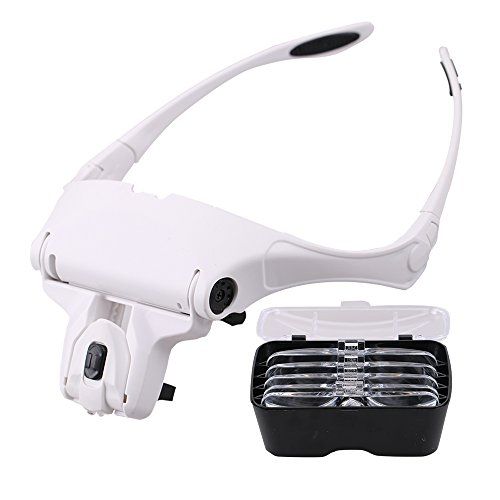 BMBZON Headband Magnifier LED Head Magnifing Glasses Bracket 5 Replaceable Lenses for Reading,Jewelry Loupe(1.0X, 1.5X, 2.0X, 2.5X, 3.5X) (Headband - General Eyewear