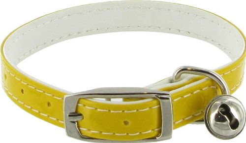Kakadu Pet Patent Pet Dog or Cat Collar with Bell, 3/8″ x 12″, Yellow, My Pet Supplies