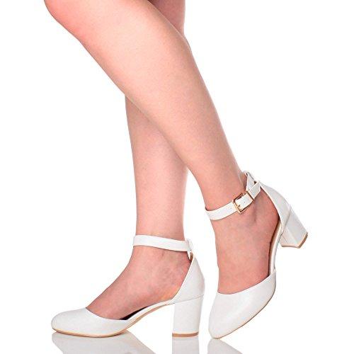 Professionnel Pointure Moyen Ajvani de Femmes Sandales Escarpins Blanc Soir Mat Sangle Chaussures Talon D'Orsay Cheville gSTqSRn