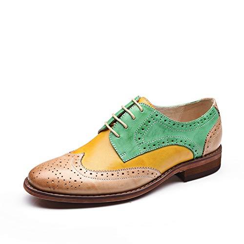 Left Su amp;right Pizzo Oxford Accento Scarpe Colore Donna Cuciture Moda Green Casual FFzqrd1x