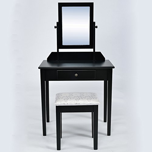 Belleze 2 Piece Classic Contemporary Wood Make-Up Vanity Table and Stool Set, Black