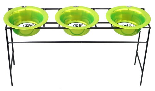 Platinum Pets Triple Modern Diner Stand with 64oz Stainless Steel Dog Bowls in Corona Lime, My Pet Supplies