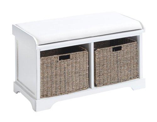 """Deco 79 96192 White Wood Bench with Storage Wicker Basket Drawers, 34"""" x 20"""""""