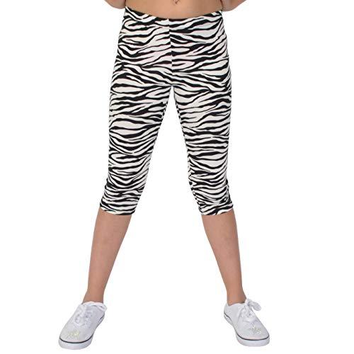Stretch is Comfort Girl's Print Capri Leggings Zebra Medium