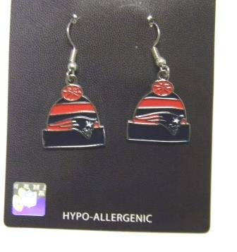 New England Patriots Beanie Hat Dangle Earrings