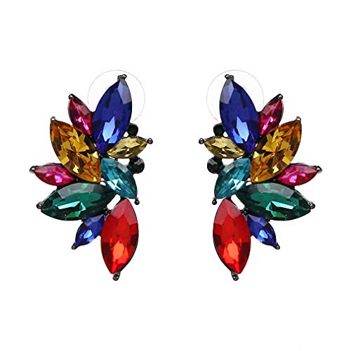 Vintage Design Crystal Earrings Women Statement Stud Earrings Women Earrings Jewelry Red Multi