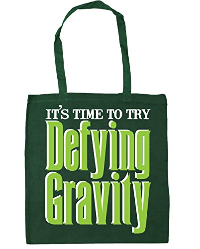 HippoWarehouse It's Time to Try Defying Gravity Tote Shopping Gym Beach Bag 42cm x38cm, 10 litres Bottle Green