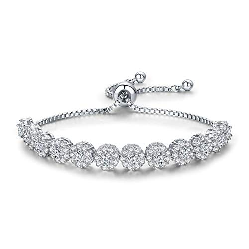 (J.Memi's Bracelets Tennis Cubic Zirconia Diamond Cut, Adjustable, Fashion Jewellery for Women, Copper Plated Platinum Gift,White )