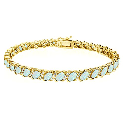 Gold Opal Bracelet (GemStar USA Gold Flashed Sterling Silver Simulated Opal Marquise-cut Tennis Bracelet with White Topaz Accents)
