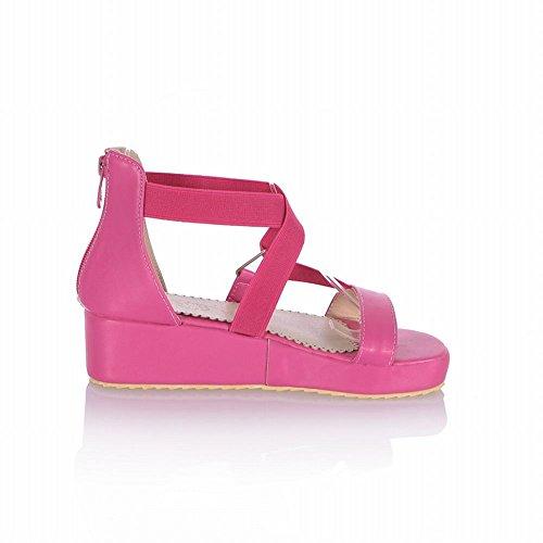 Carol Shoes Fashion Womens Cute Zipper Bandage Casual Platform Mid Heel Wedges Sandals Rose Red WWwGabm