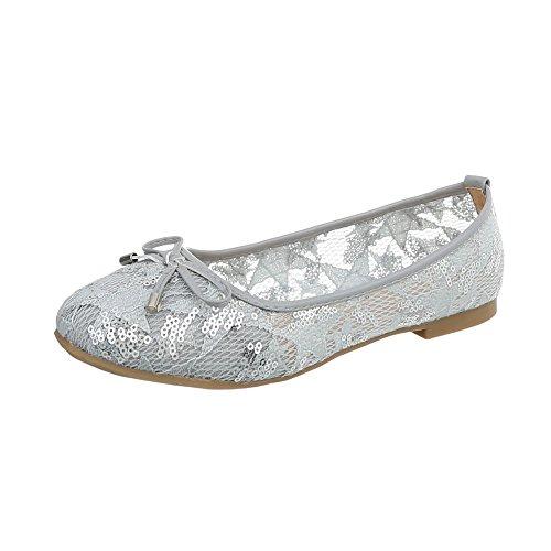 Ital Ballerines Chaussures Femme Classiques Ballerines Bloc Clair 9909 Design K Gris OCqHxPO7w