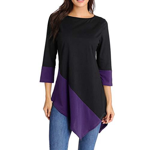 Plus Size Clothing for Women Respctful✿ Women's Cotton Linen Tunic Dress Irregular Hem Half Sleeve Loose T-Shirt Dresses Purple