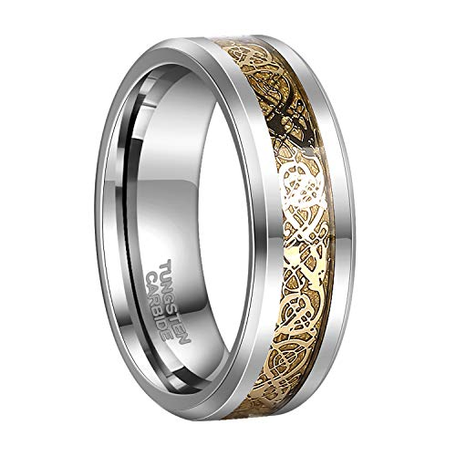- 8mm Silver Tungsten Wedding Band Gold Celtic Dragon Womens Ring  Size 9