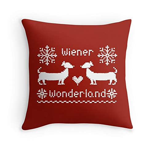 Wiener Wonderland in Festive Red – Dachshund Sausage Dog for Sofa Couch Living Room Bed Decorative (Square 18×18)
