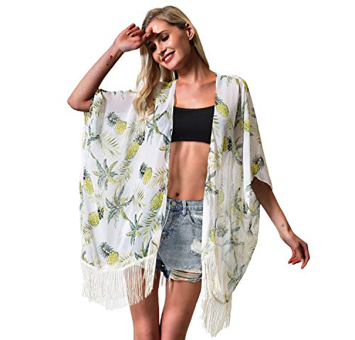 Women's Floral Kimono Cover Up - Lightweight Leopard Chiffon Beachwear for Bikini,Cardigan and Swimwear (one Size, White Pineapple) (White Open Coconut)