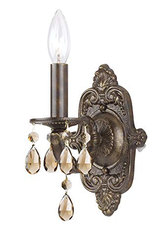 Crystorama 5021-VB-GT-MWP Crystal Accents One Light Wall Sconce from Paris Market collection in Bronze/Darkfinish, 5.00 inches