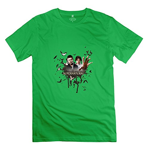 Hoxsin Men's Supernatural Funny 100% Cotton T Shirt ForestGreen US Size XXL