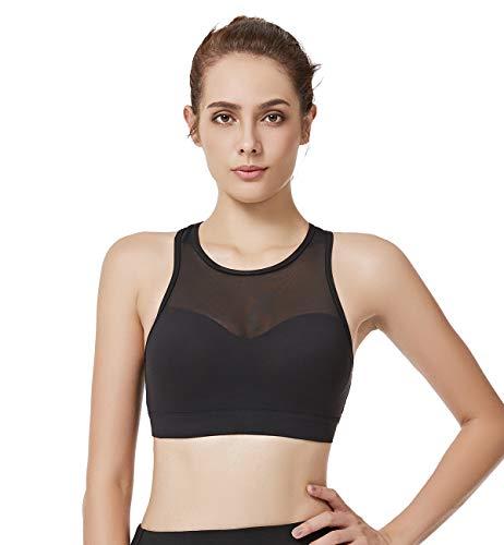 Yvette Women's Mesh Compression Sports Bra-High Impact Support Full Figure Plus Size Strappy Workout Bra, Black, 4XL(DF)