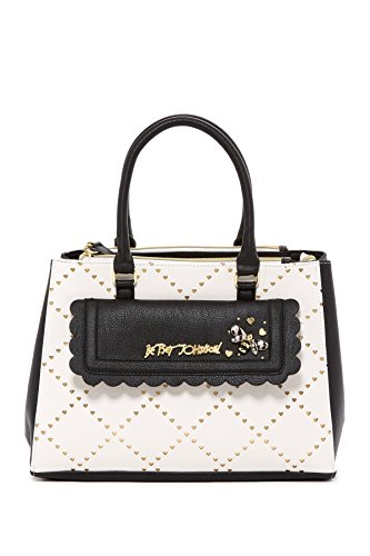 Betsey Johnson Laser Heart Cut Gold Background Scalloped Pkt Triple Compartment Black ()