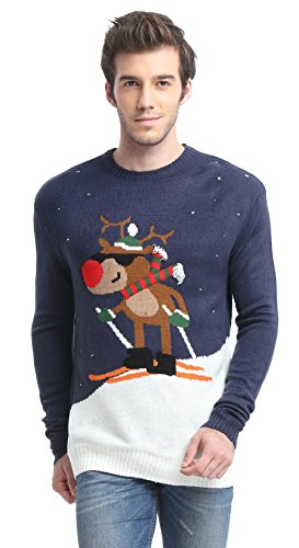 Daisysboutique Men's Holiday Reindeer Snowman Santa Snowflakes Sweater (Large, Skiing)
