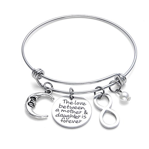 iWenSheng Mom Gift from Daughter Bracelet - Stainless Steel Bangle Bracelet Mom Jewelry, Mother's Day Gift, The Love between a Mother and a Daughter is Forever, Mom Gifts for Women