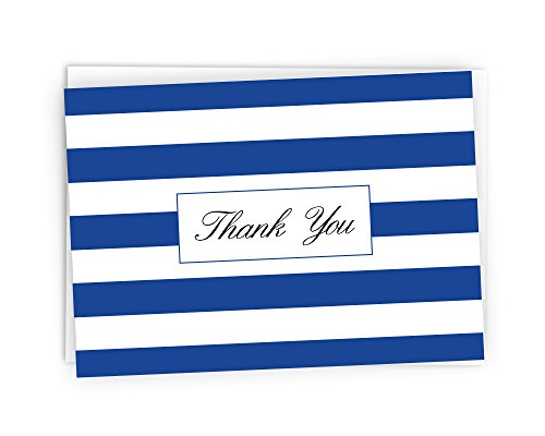 Striped Thank You Cards - 48 Cards & Envelopes (Navy Blue)