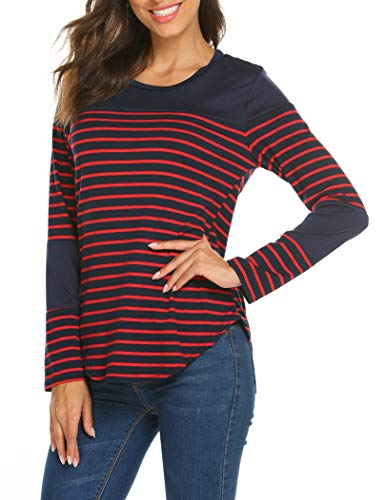 Miselon Women Long Sleeve Striped High Low Shirt Tee Tops (Navy Blue, S)