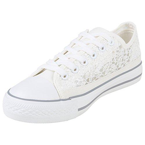 Stiefelparadies Komfortable Damen Basic Sneakers Low Helle Sohle Schnürer Flandell Weiss Pailletten