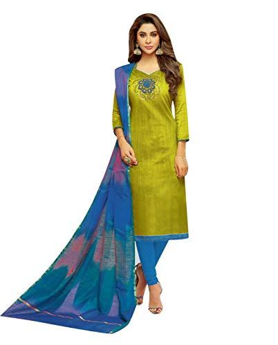 (Womens Blended Silk Handworked Salwar Kameez with Banarasi Dupatta Womens Indian Pakistani Dress Ready to wear Salwar Suit (Size_48/ Parrot Green))