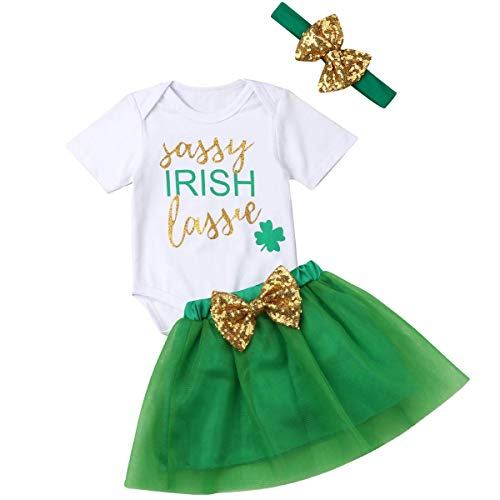 Baby Girls St Patrick's Day Irish Lassie/Lucky Charm Skirt Set Romper Tutu Dress Headband (Irish Lassie, 12-18 Months)