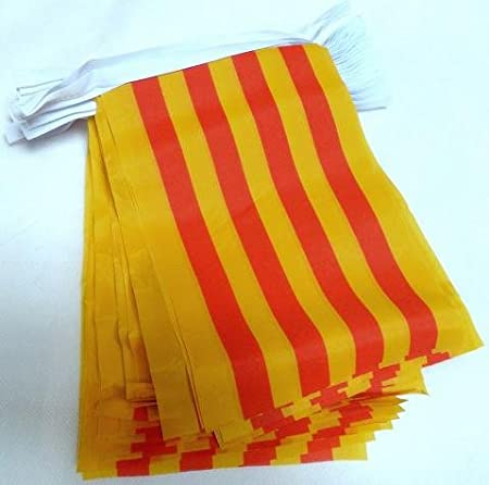 AZ FLAG Guirnalda 6 Metros 20 Banderas de CATALUÑA 21x15cm - Bandera CATALANA - Catalunya 15 x 21 cm - BANDERINES: Amazon.es: Hogar